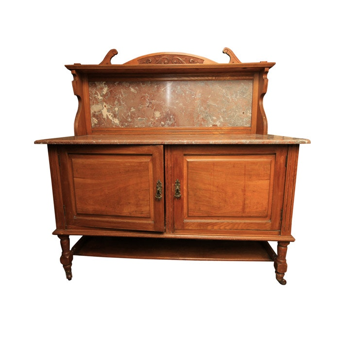 Victorian Marble Top Walnut Sideboard