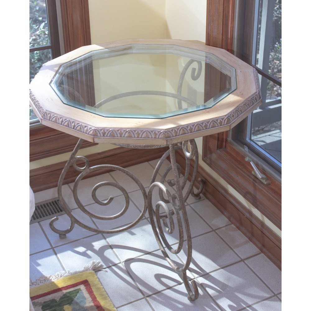 Glass And Metal Entry Table ...