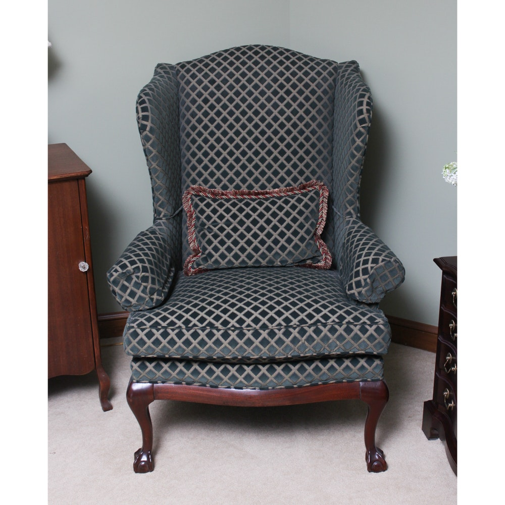 Custom Upholstered Wingback Armchair