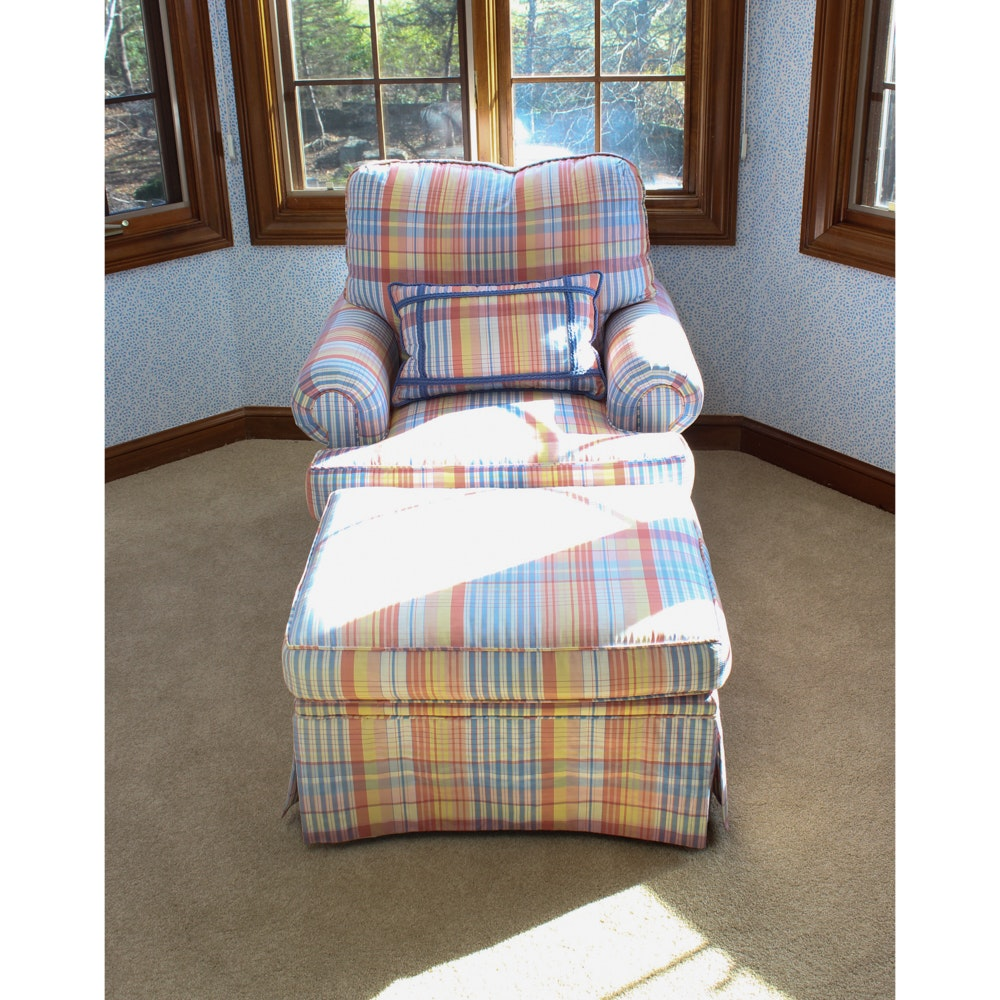 Plaid Upholstered Armchair and Ottoman