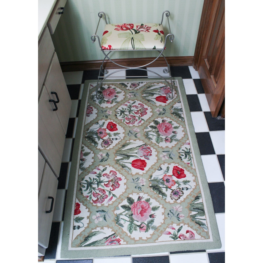 Floral Upholstered Accent Bench and Tufted Wool Rugs