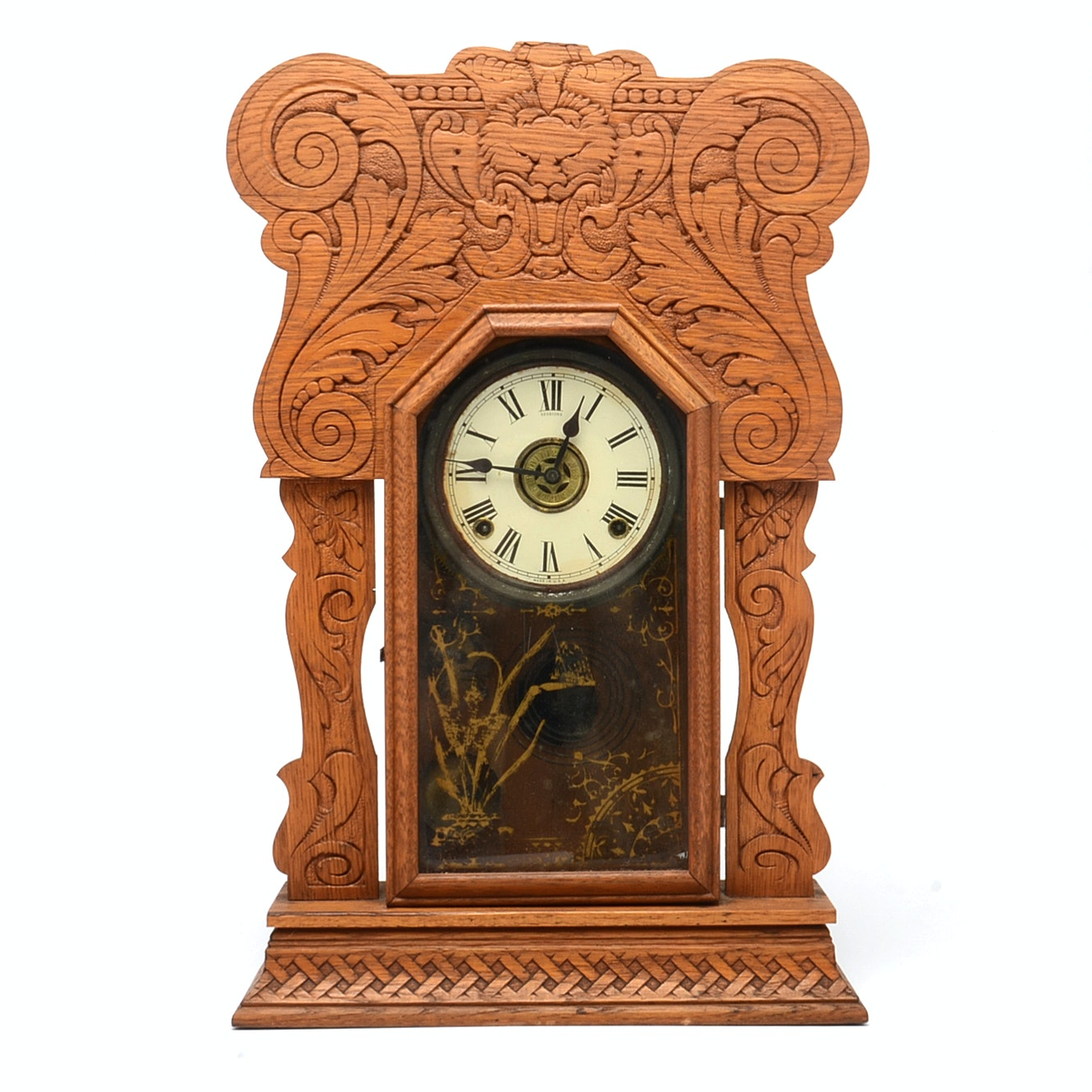 Antique Sessions Pressed Oak Mantel Clock