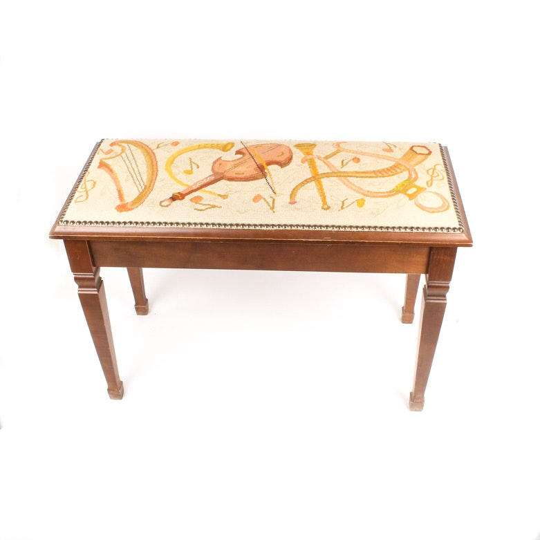 Piano Bench with Needlepoint Seat Depicting Musical Instruments