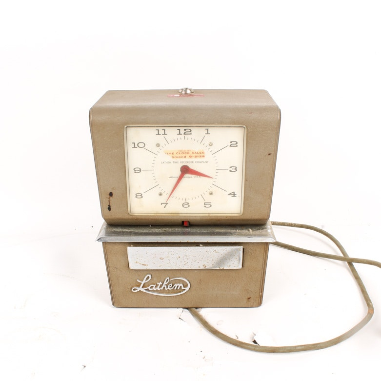 Vintage Lathem Time Recorder Company Mechanical Punch Time Clock
