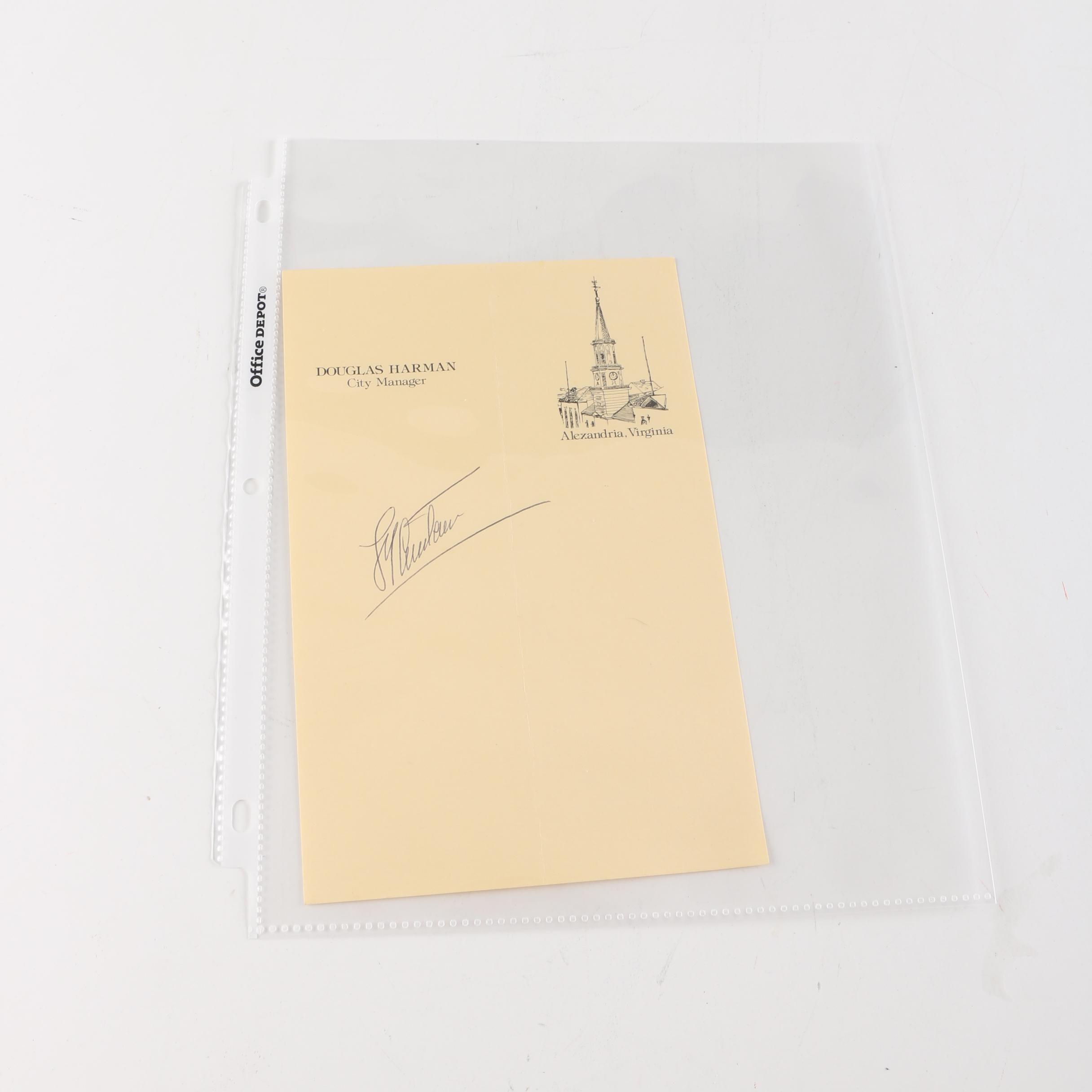 Jacques Cousteau Autographed Paper