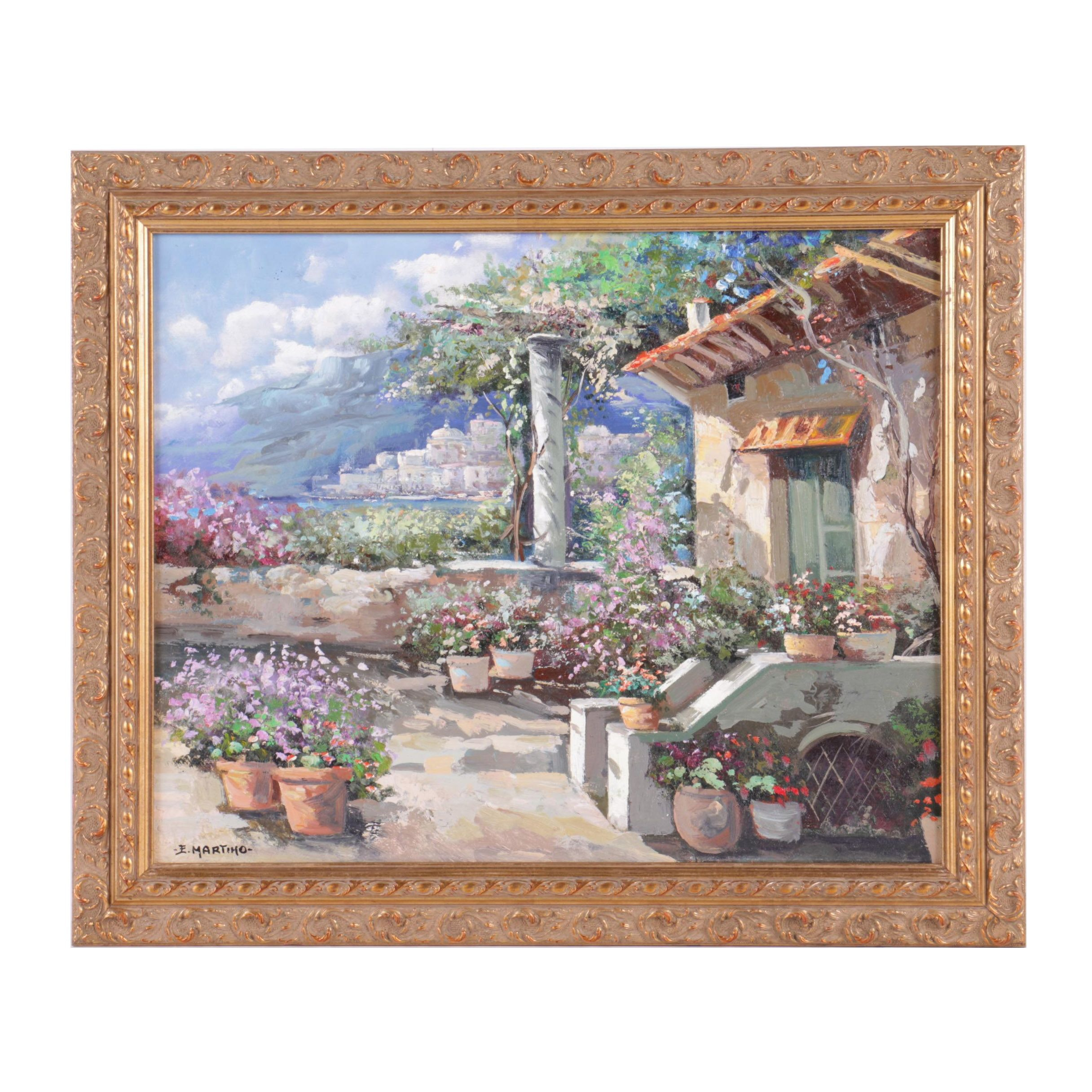 E. Martino Oil Painting on Canvas of a Garden