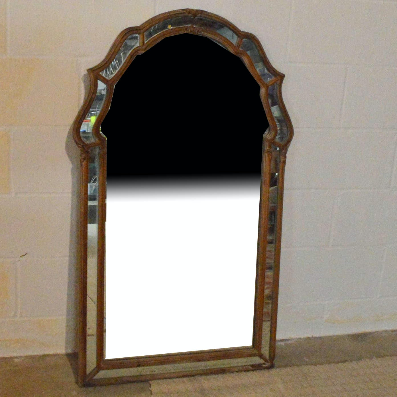Vintage Wall Mirror with Mirror and Wood Frame