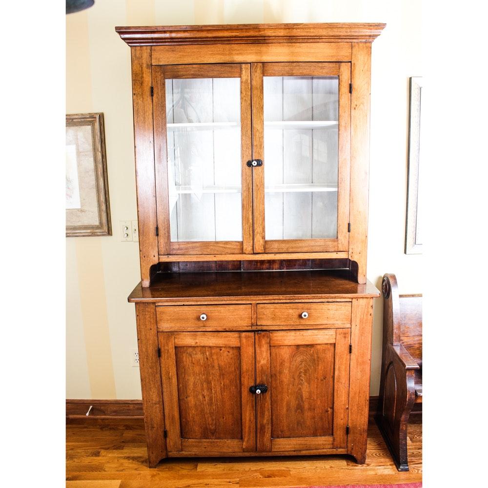 Antique Hardwood China Cabinet