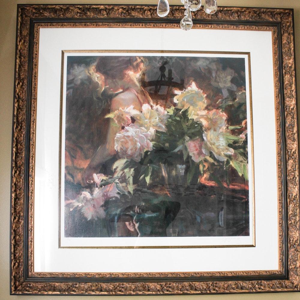Signed Hand Embellished Impressionist Floral Giclee Print