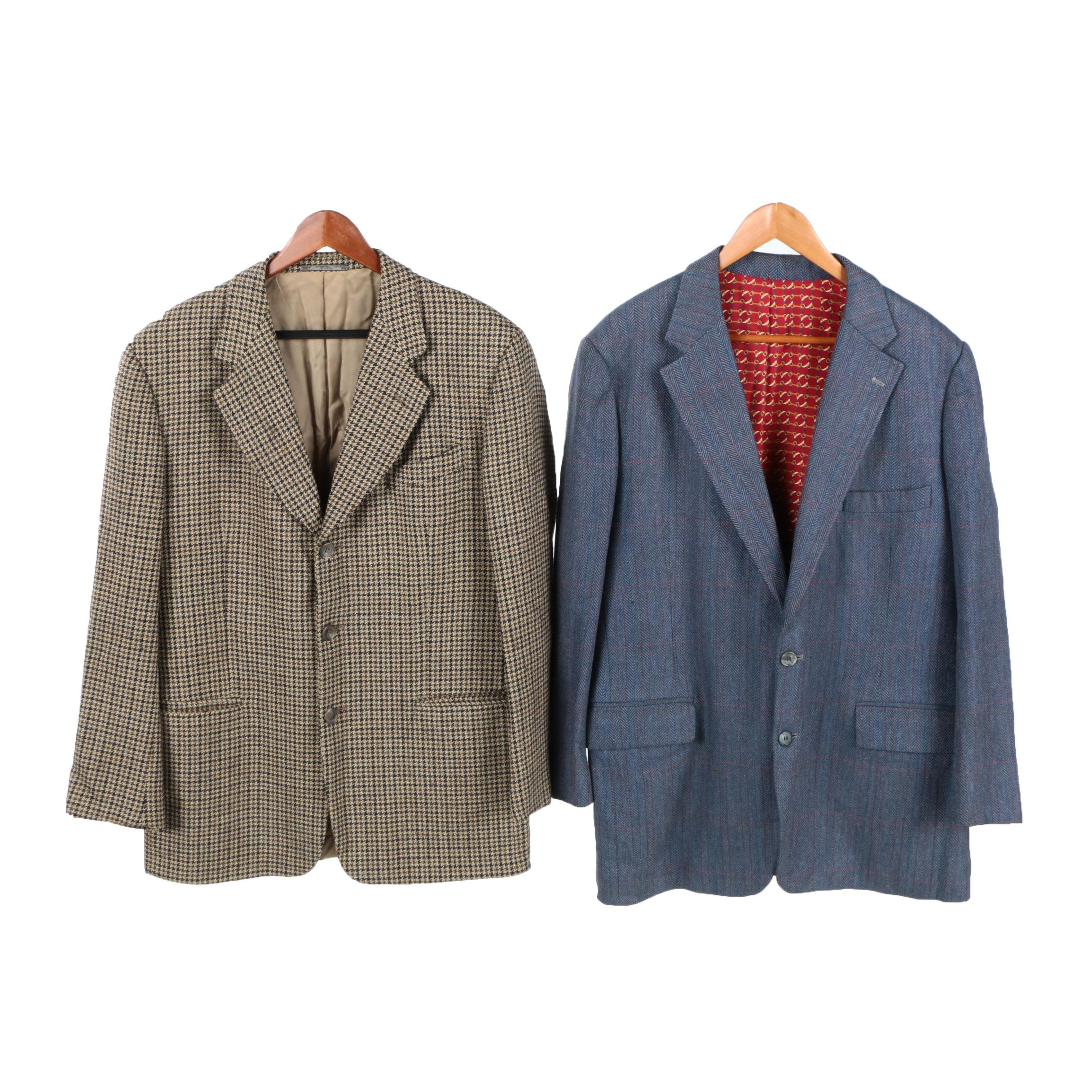 Barneys New York Houndstooth Style Suit Jacket with Another Jacket