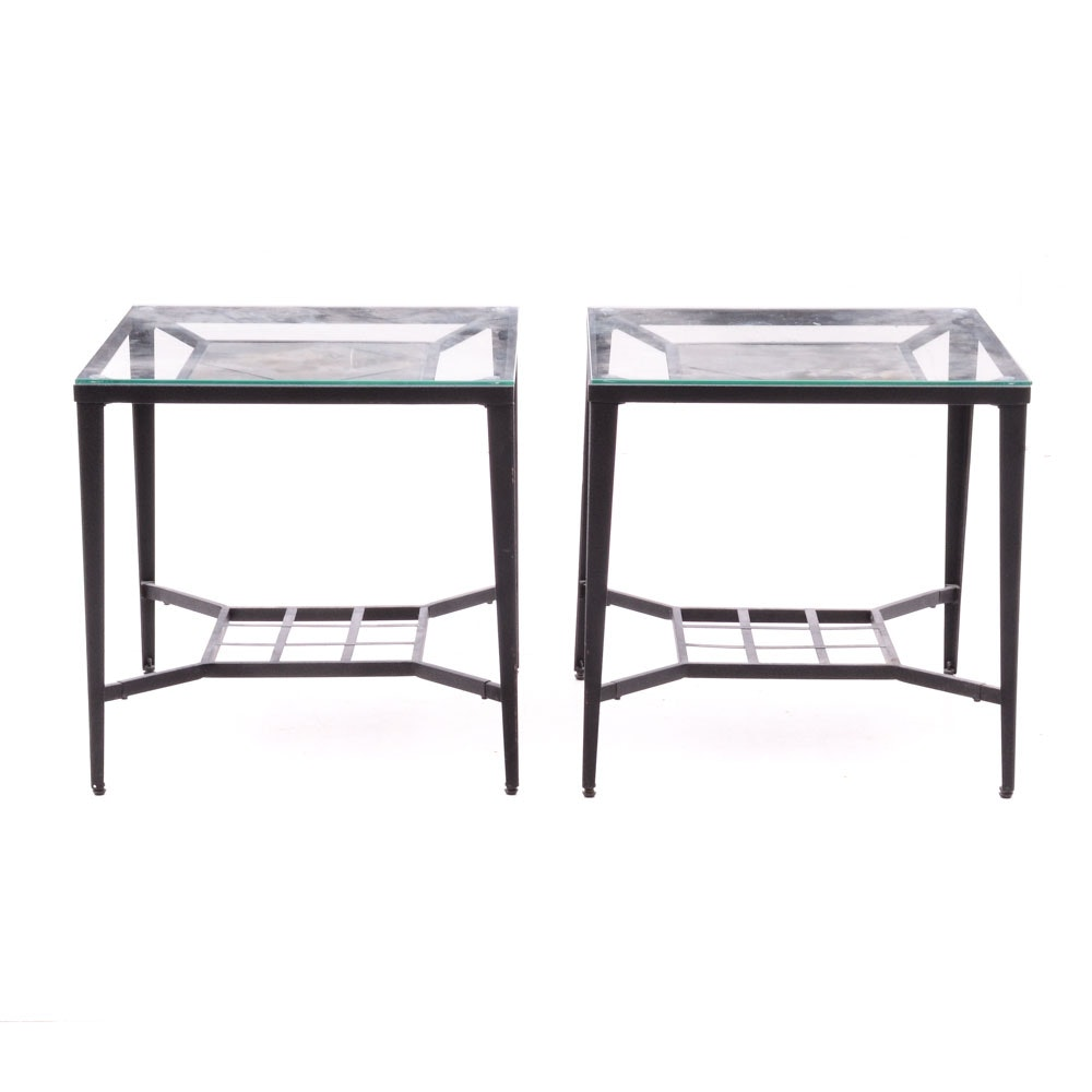 Pair of Contemporary Glass Top End Tables