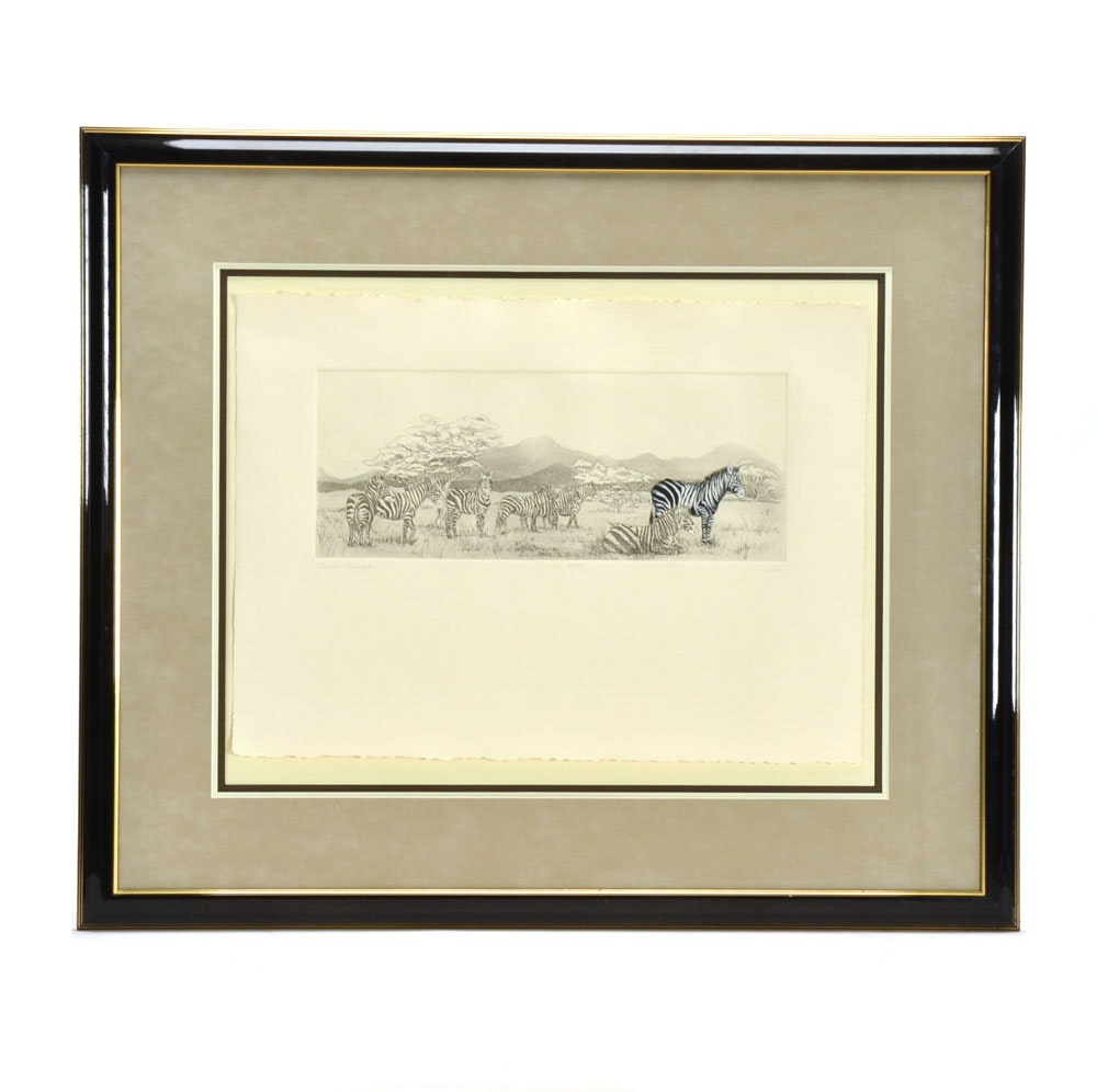 "Signed Limited Edition Embellished Etching with Aquatint ""Zebra Sarengetti..."""