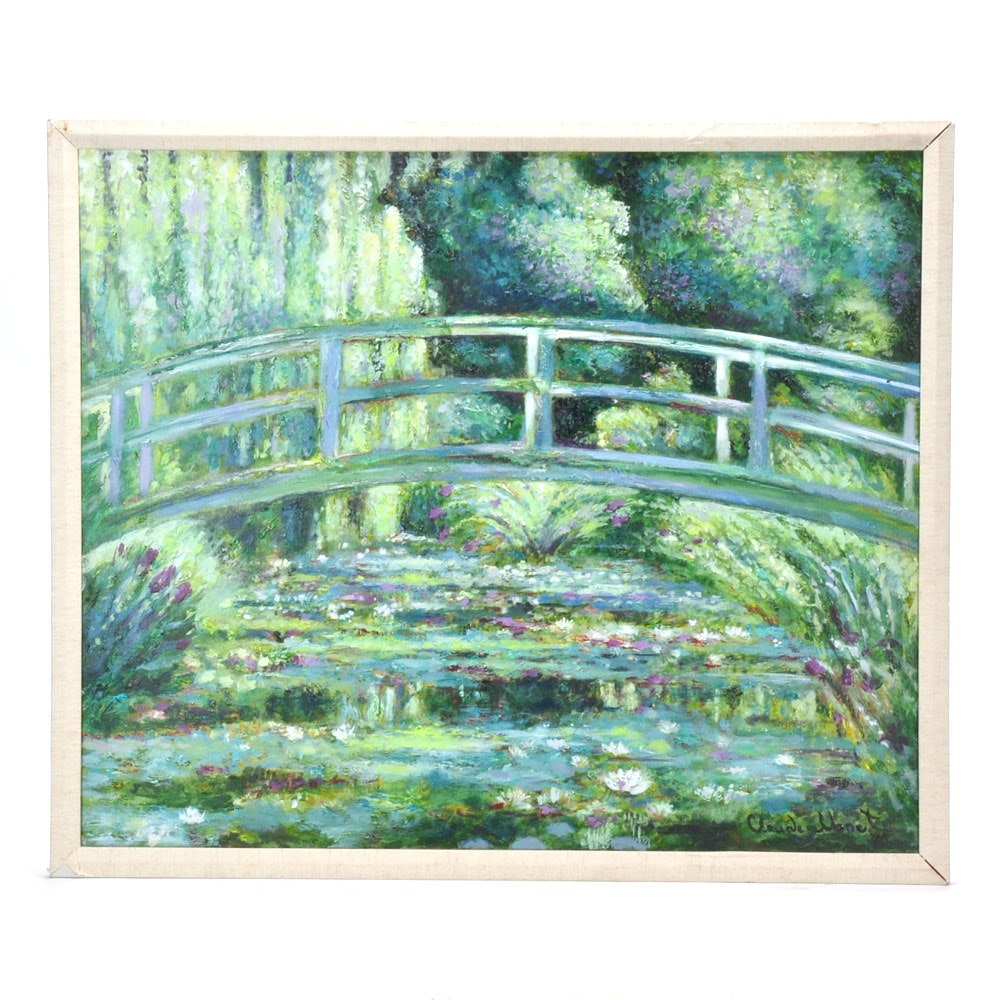 """Hand Embellished Giclee Print on Canvas after Claude Monet """"Japanese Bridge"""""""