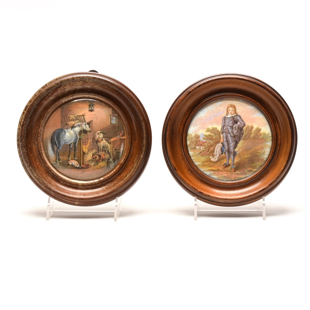 Pair of Framed Antique Ceramic Transfer Pot Lids