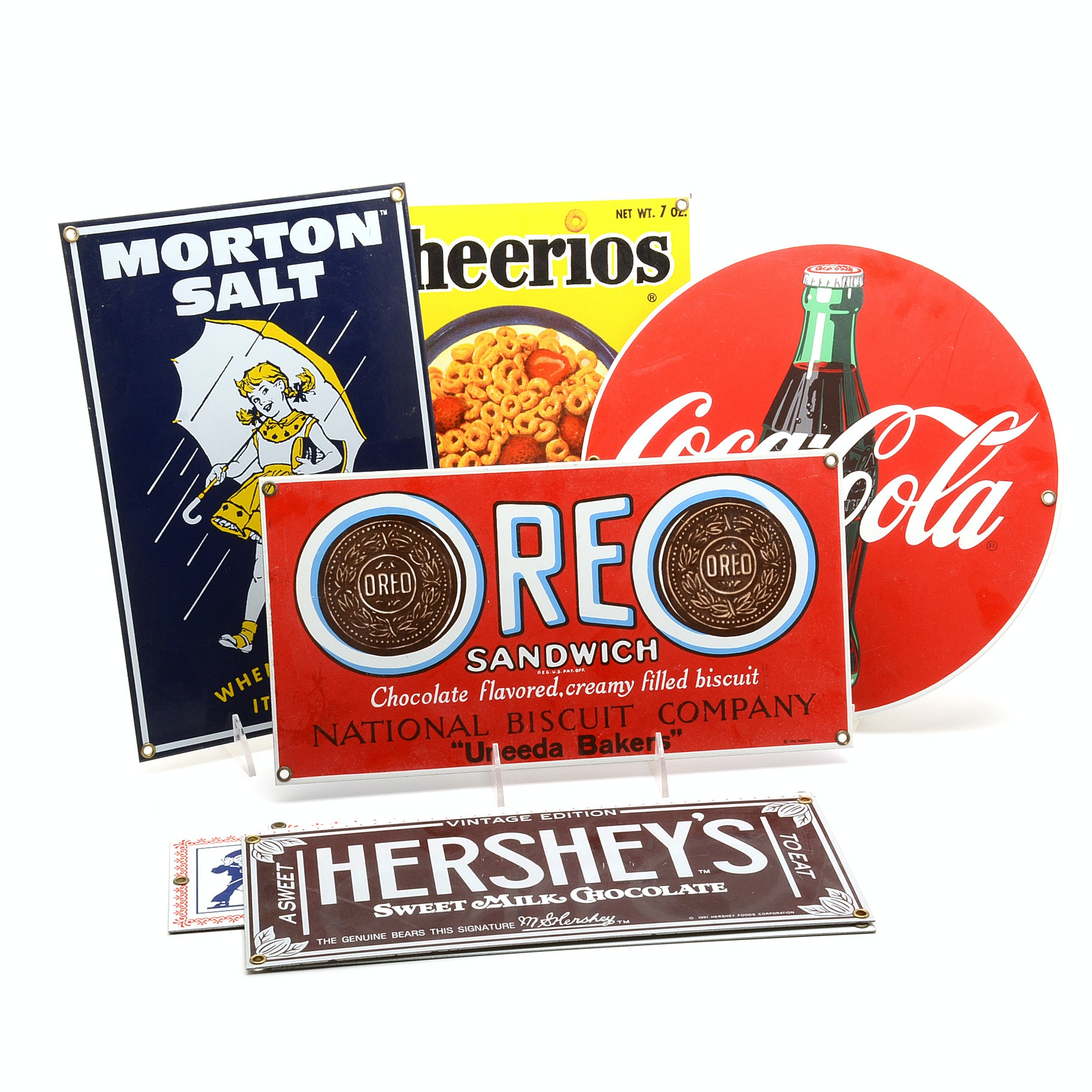 Ande Rooney Food and Beverage Themed Porcelain Advertising Signs
