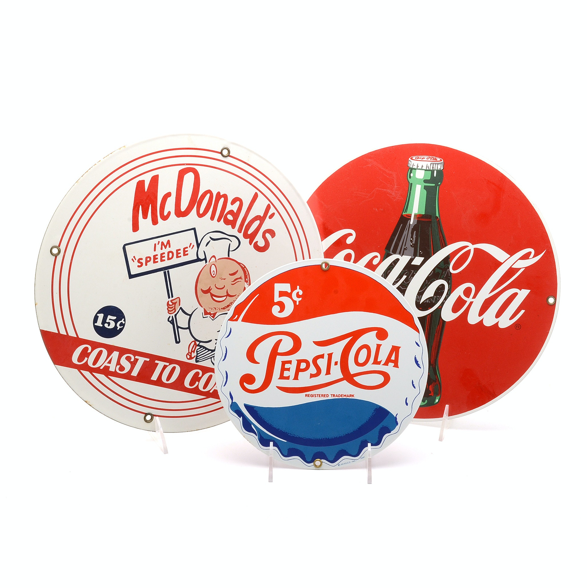 Ande Rooney Porcelain Advertising Signs Including Coca-Cola and Pepsi