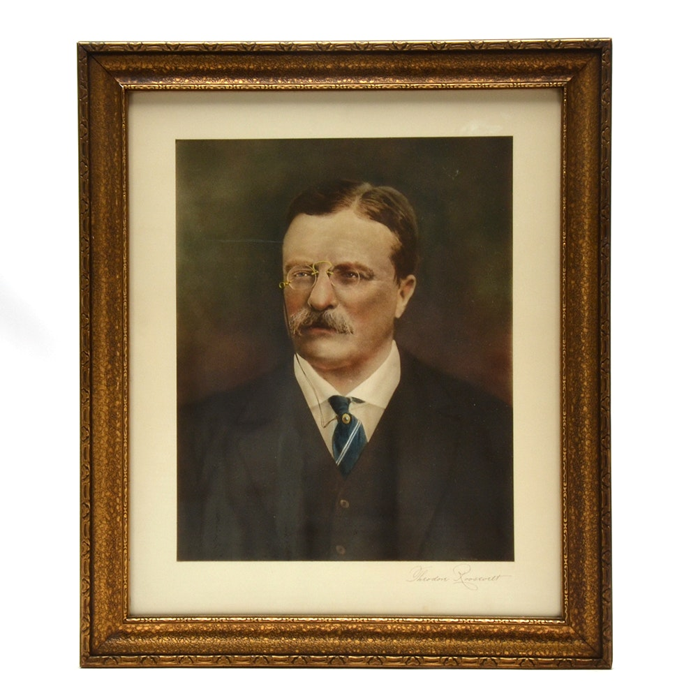 Hand-Colored Collotype After Pach Brothers Photograph of Theodore Roosevelt