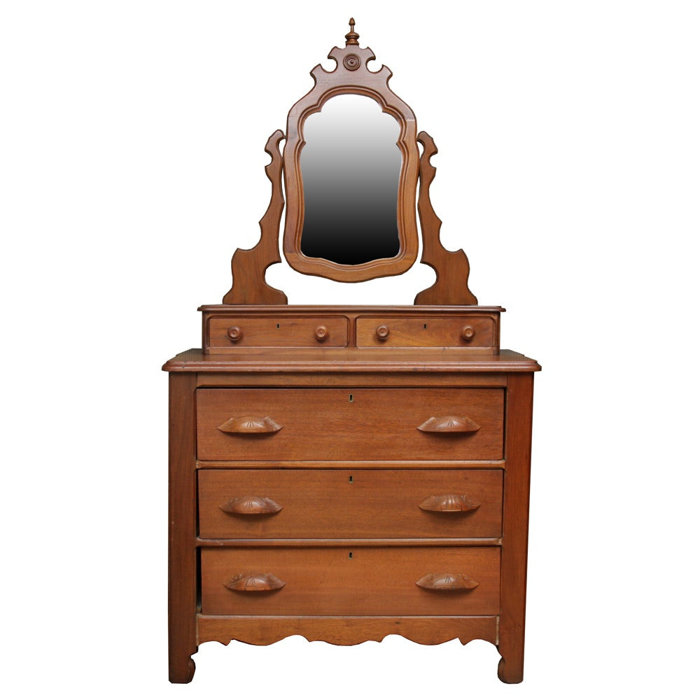 Antique American Victorian Walnut Chest of Drawers with Mirror