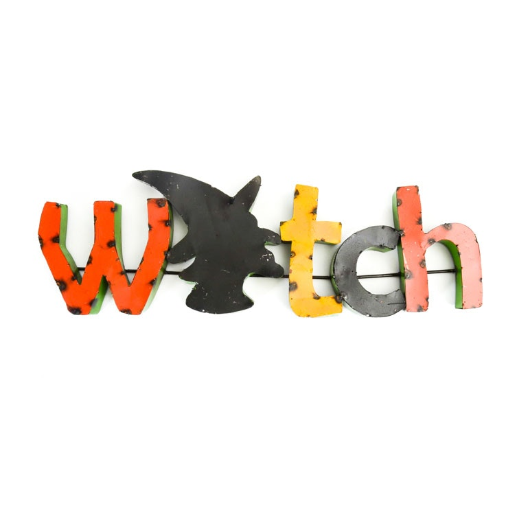 "Vintage Metal ""Witch"" Sign"