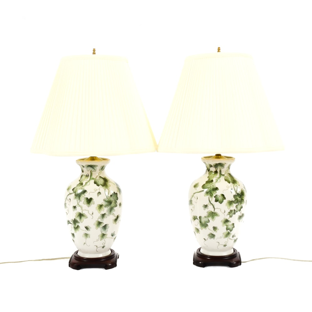 Ivy Decorated Ceramic Table Lamps