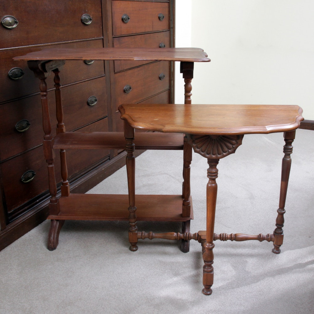 Vintage Demilune Entry Table and Side Table