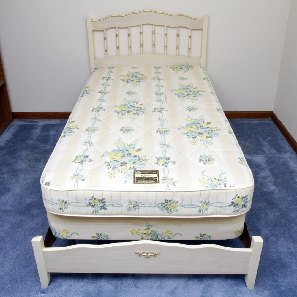 Vintage French Provincial Style Twin Size Bed Frame
