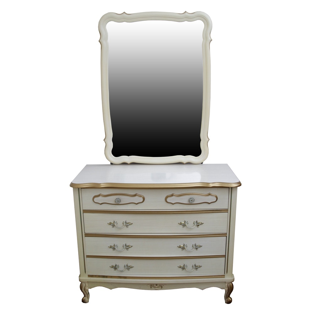 """Vintage French Provincial Style """"Bonnet"""" Chest of Drawers with Mirror by Sears"""