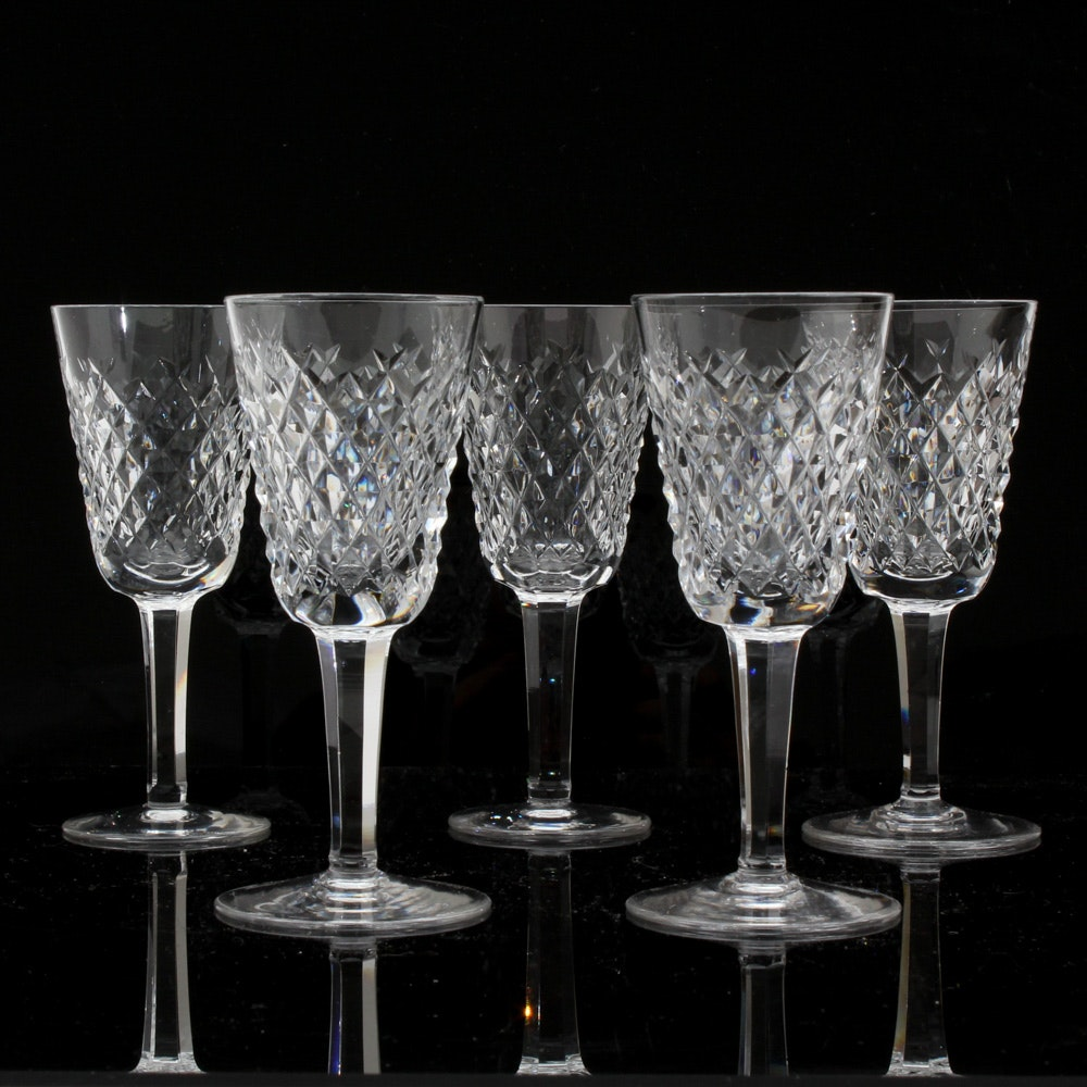 "Five Waterford ""Alana"" Sherry Glasses"