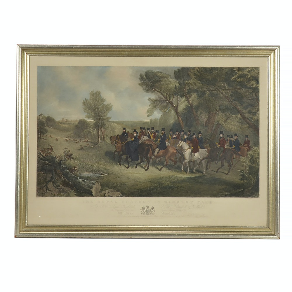"Hand-colored Engraving ""The Royal Cortége in Windsor Park"""