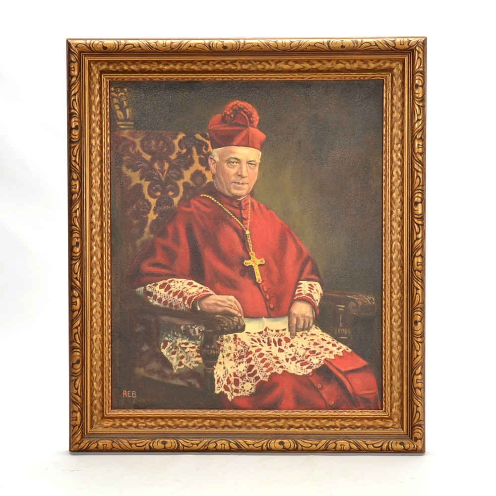 Signed Oil on Canvas Portrait Painting of Archbishop Alter