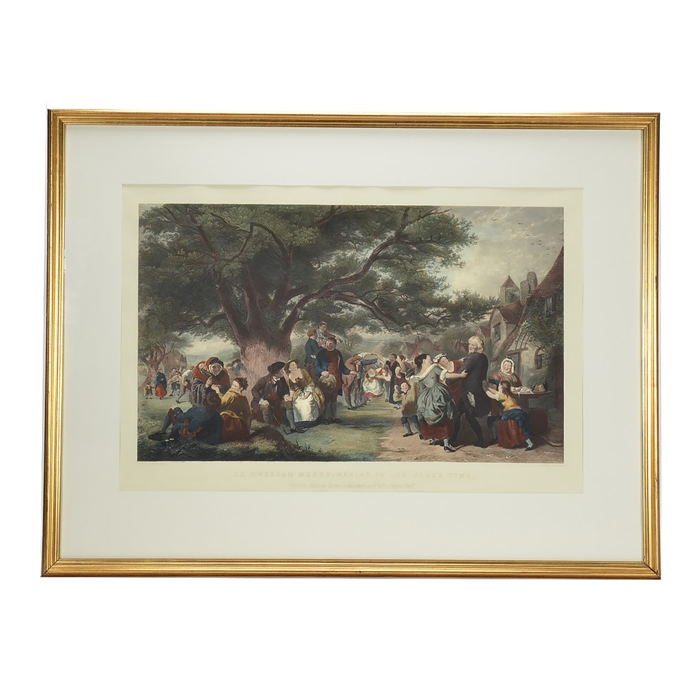 Hand-colored Engraving 'An English Merry-Making in the Olden Time'