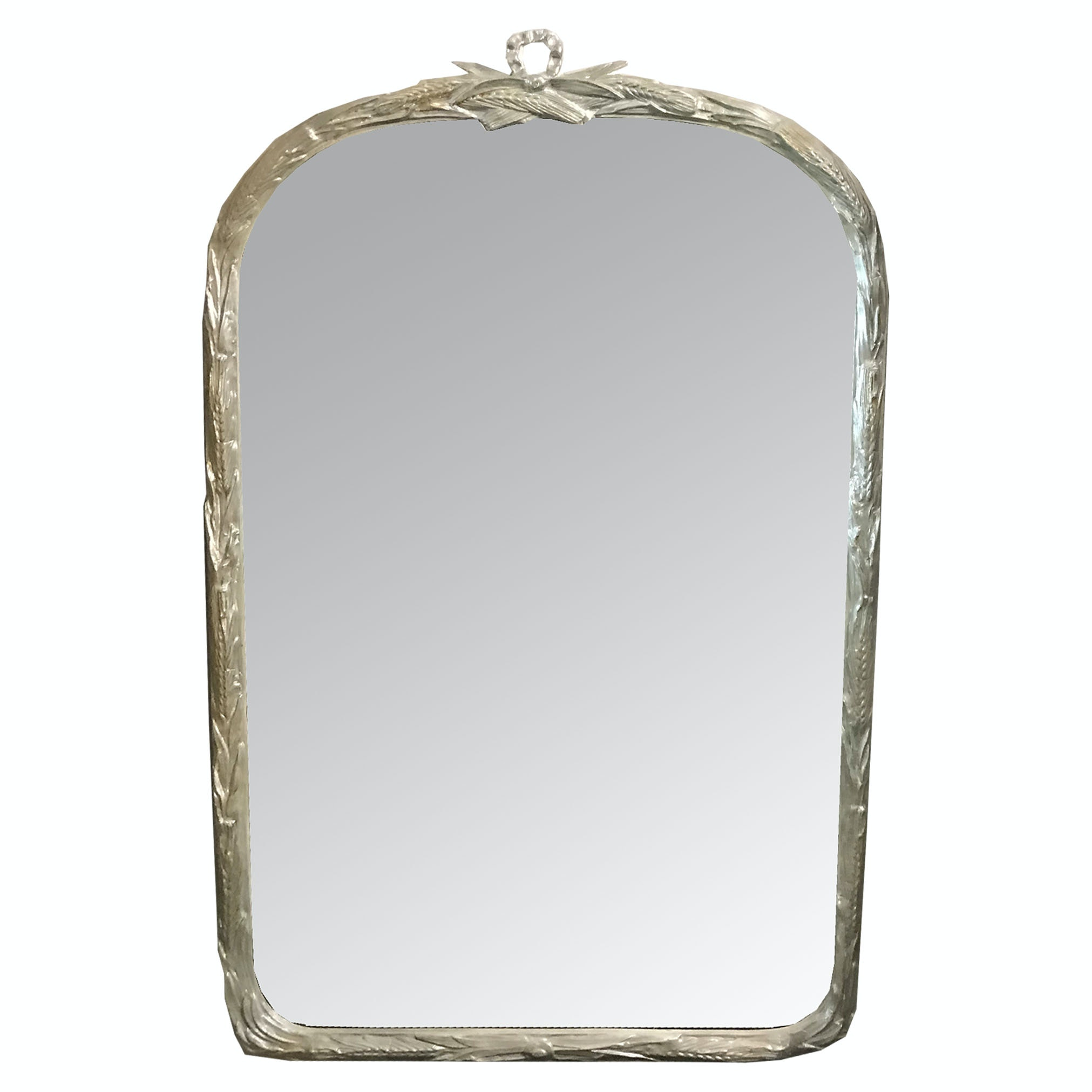 Large Wall Mirror with Carved Satin Border