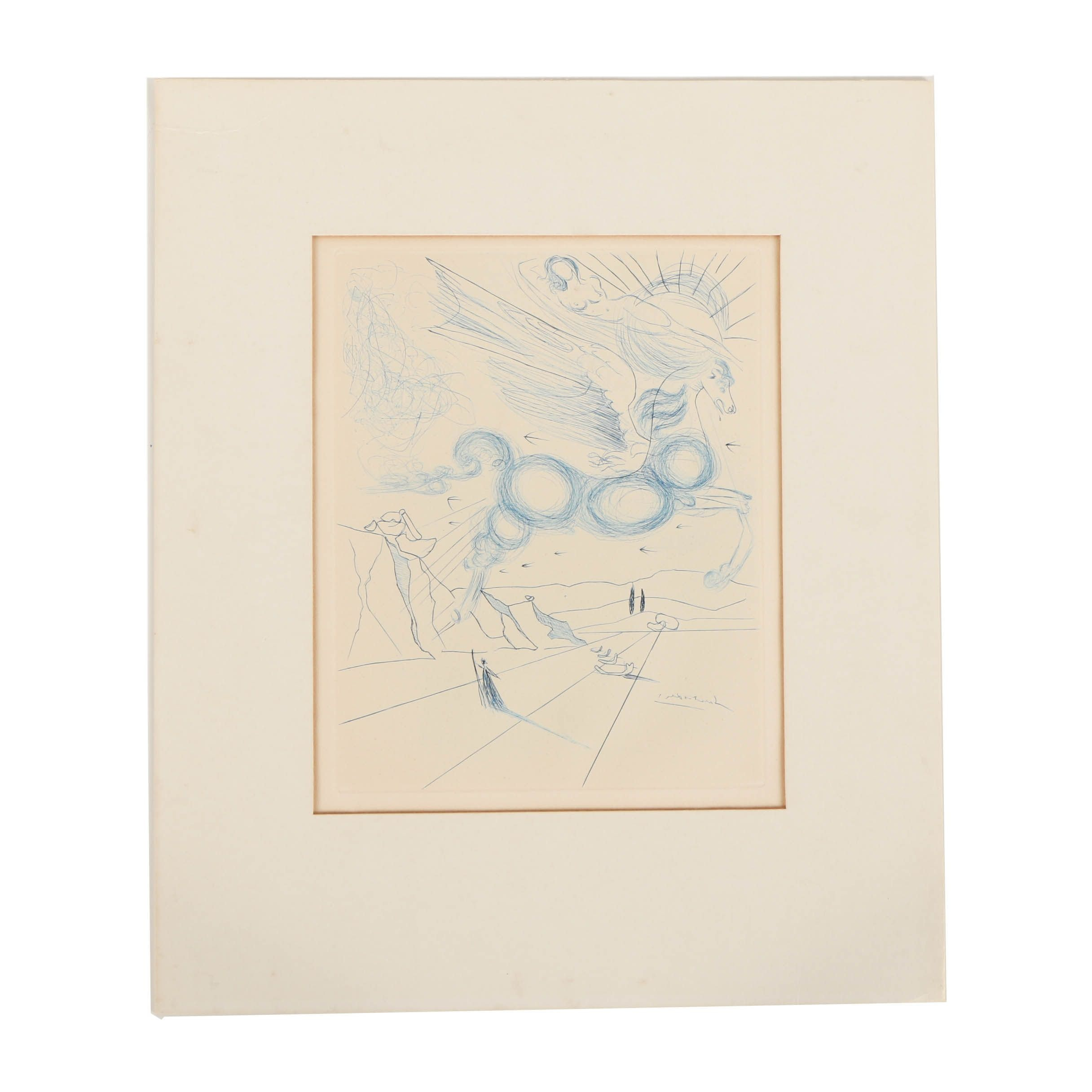 "Salvador Dali Engraving ""Pegasus in Flight with an Angel"""