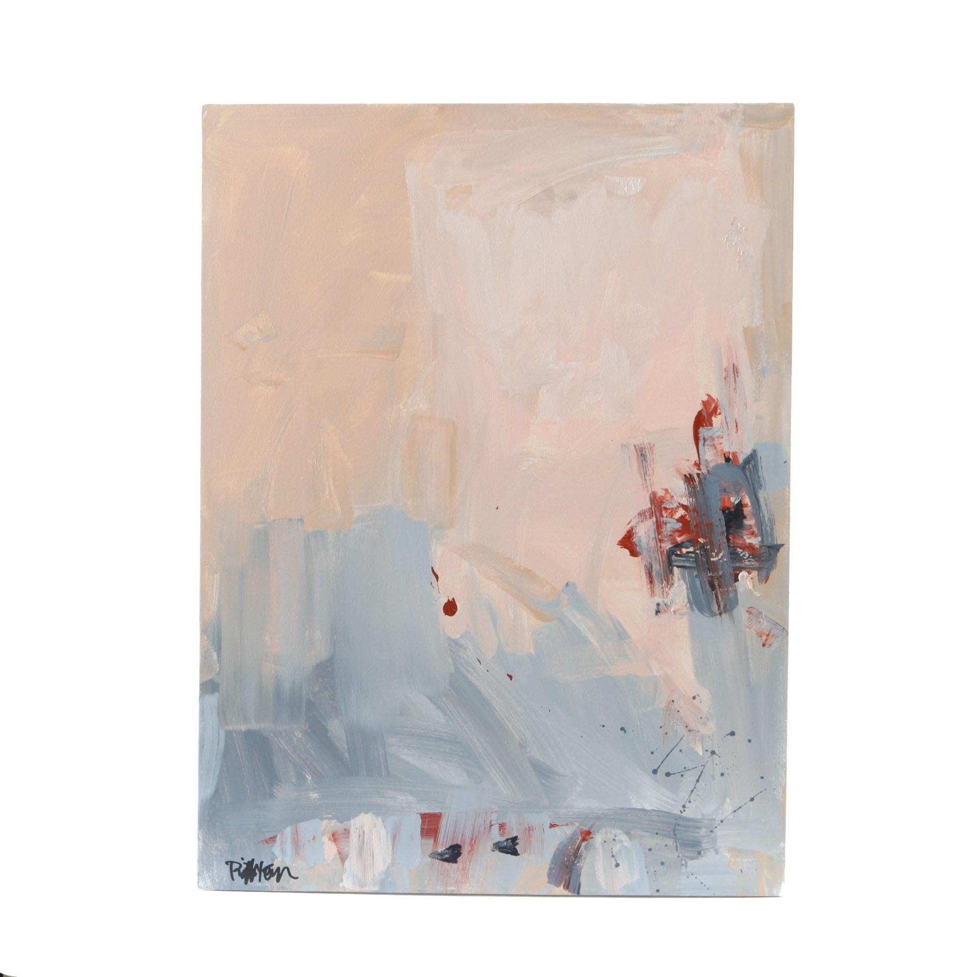 "Robbie Kemper Signed Acrylic Painting ""Pinkish Grayish"""