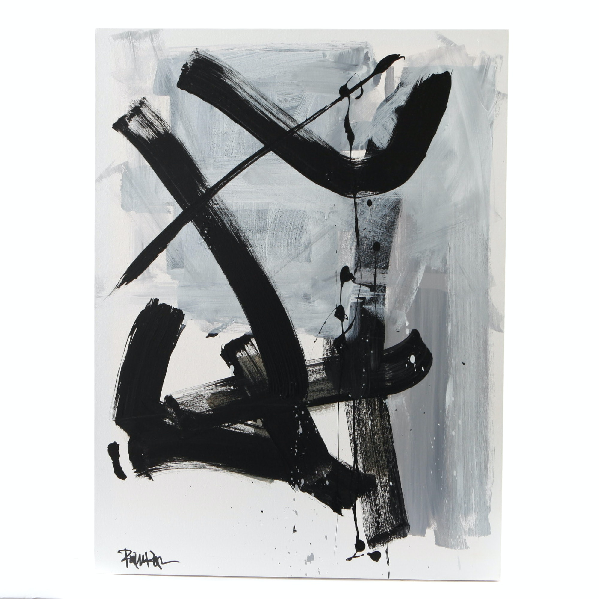 """Robbie Kemper Signed Acrylic Painting """"Swoops in Black"""""""