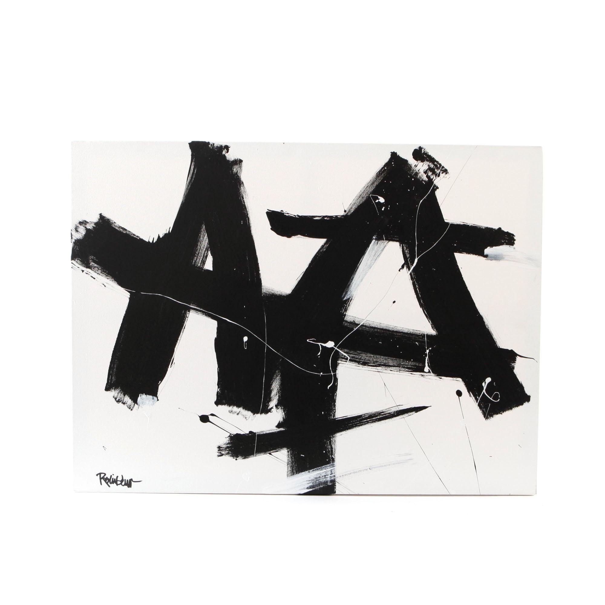 "Robbie Kemper Signed Acrylic Painting ""Black Mark Landscape"""