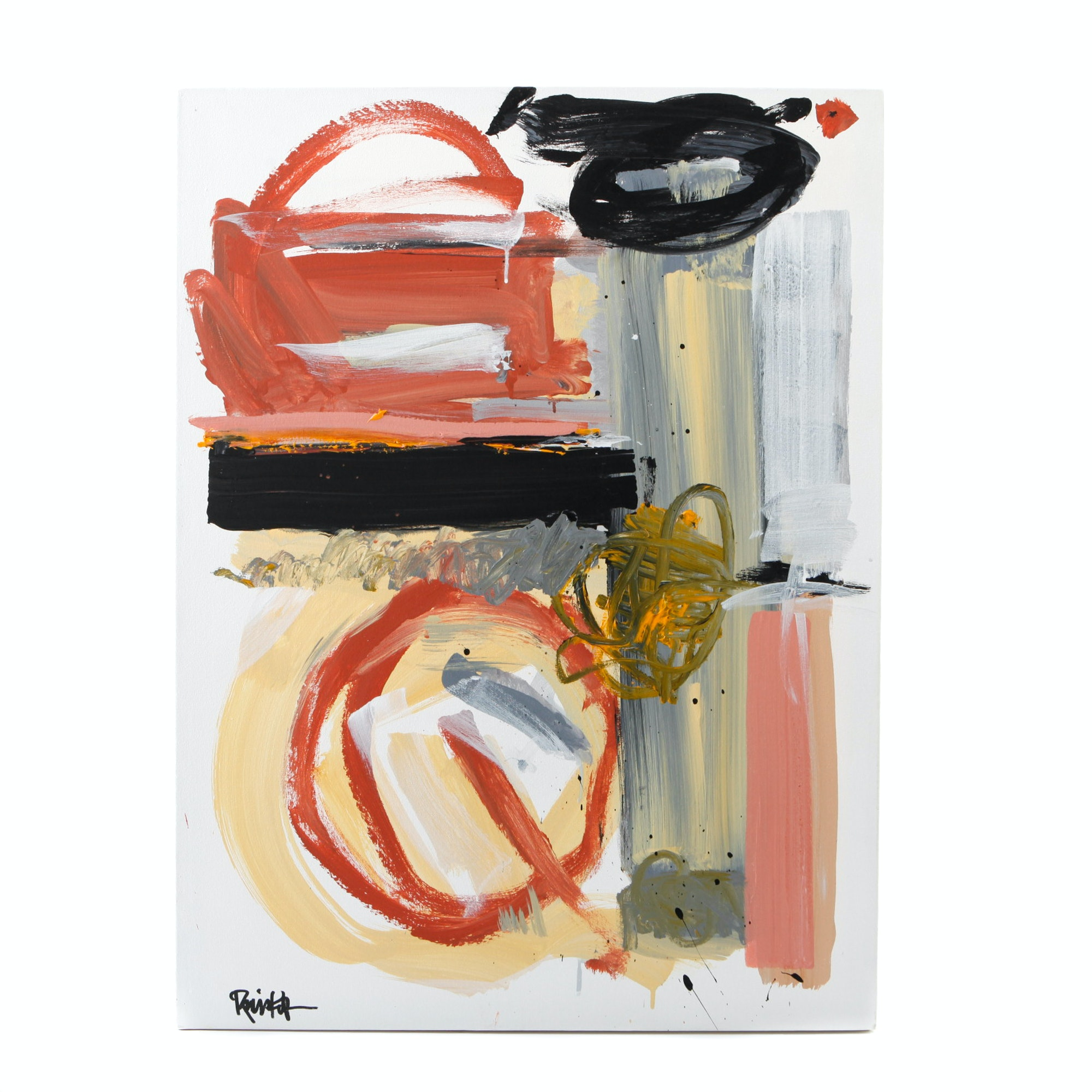 """Robbie Kemper Signed Acrylic Painting """"Red Oxide Circle"""""""
