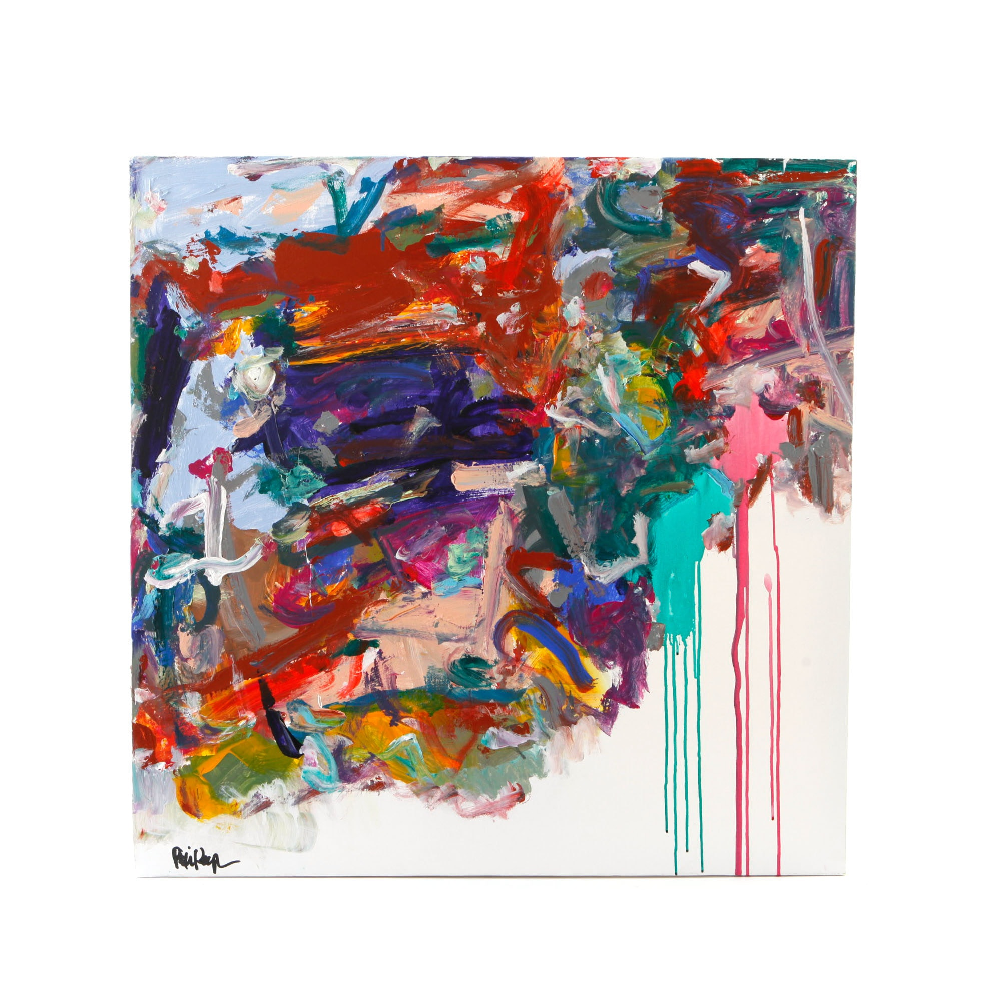 """Robbie Kemper Signed Acrylic Painting """"2 Run Spots with Color"""""""