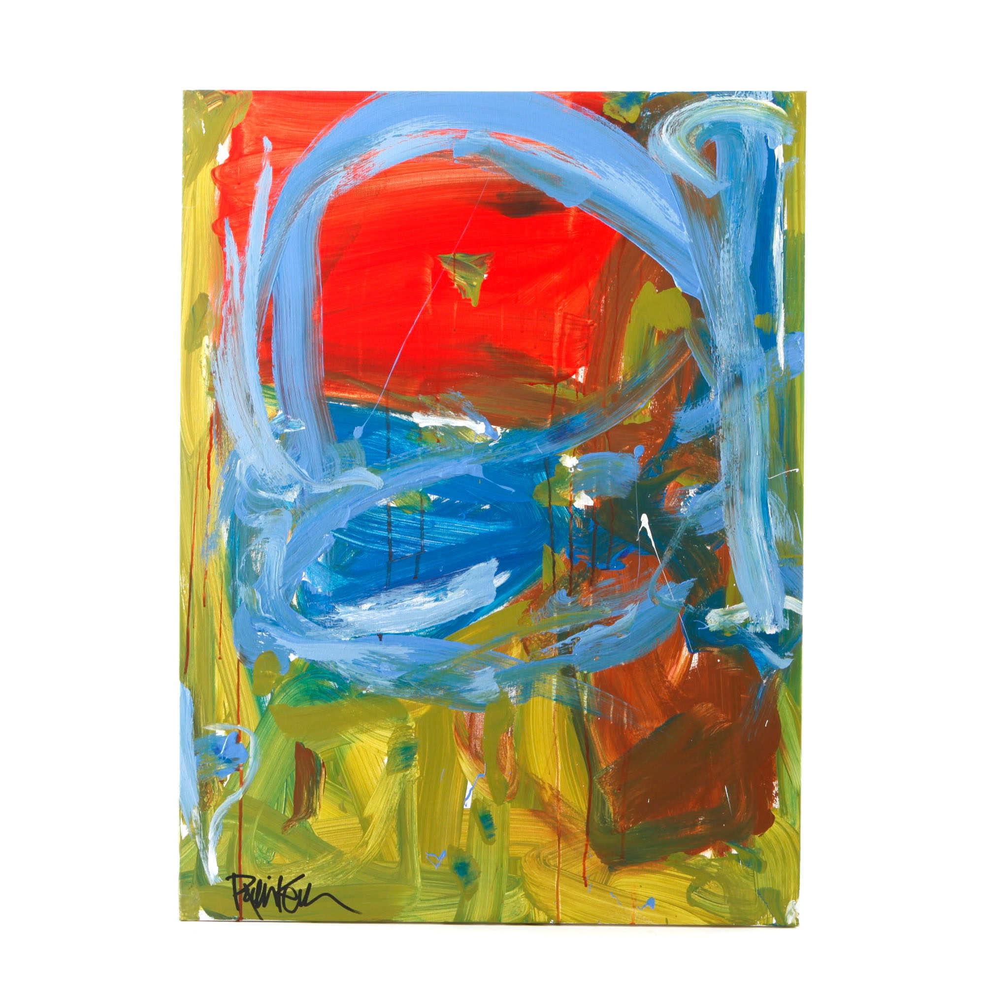 """Robbie Kemper Signed Acrylic Painting """"Brown Square in Corner"""""""