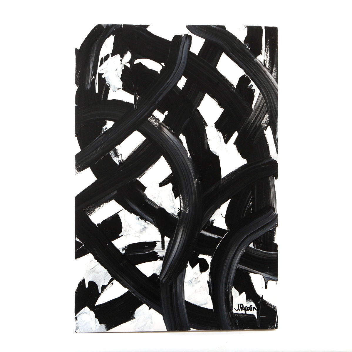 """J. Popolin Signed Acrylic Painting """"White Background, Black Curves"""""""