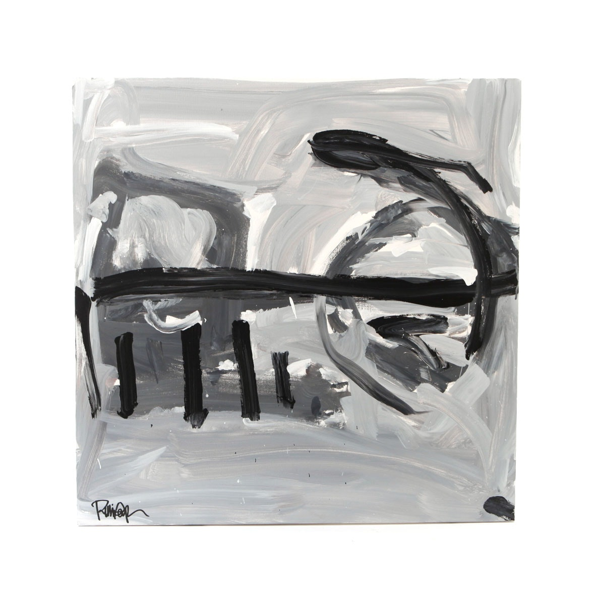 """Robbie Kemper Signed Acrylic Painting """"Black and Gray on Grays"""""""