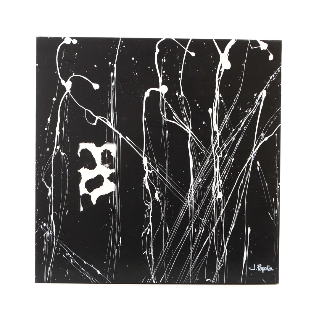 "J. Popolin Signed Acrylic Painting ""White Rain on Black"""