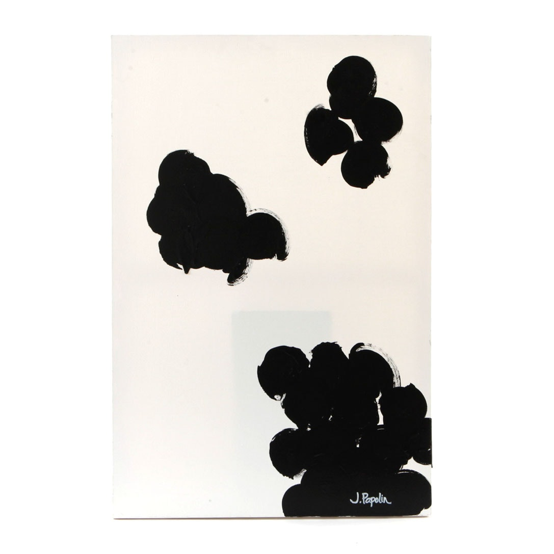 """J. Popolin Signed Acrylic Painting """"Black Clouds"""""""