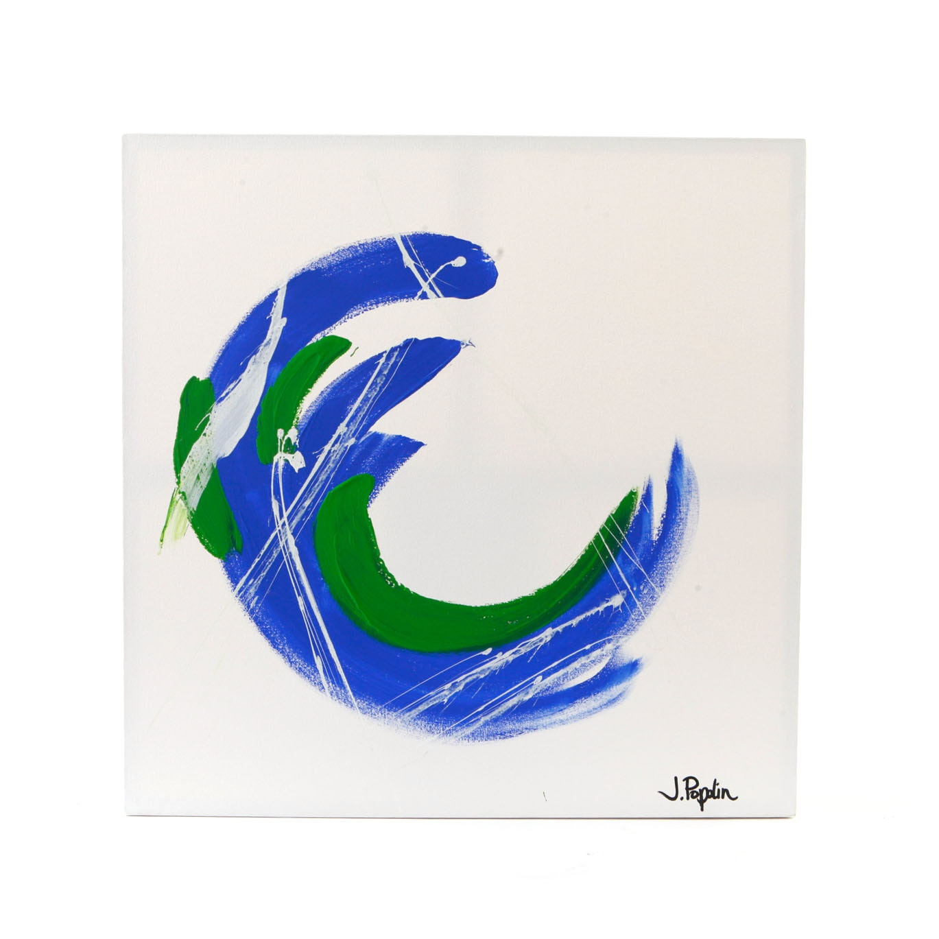 """J. Popolin Signed Acrylic Painting """"Blue Green White Wave"""""""