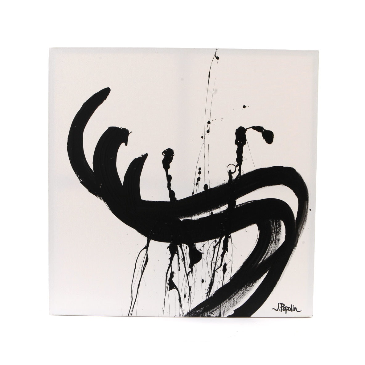 """J. Popolin Acrylic Painting on Canvas """"Square with Black Swirls"""""""