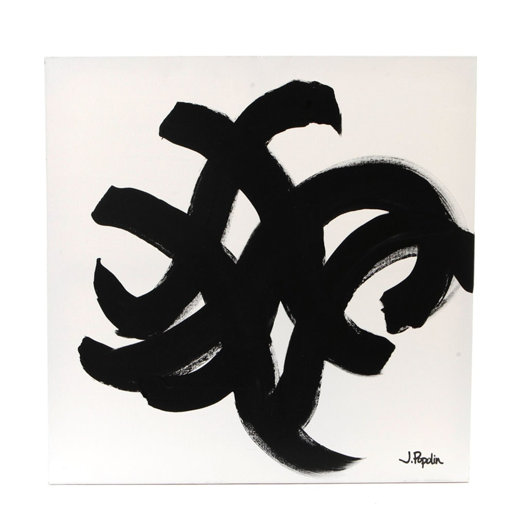 "J. Poplin Acrylic Painting on Canvas ""Black Swirls"""