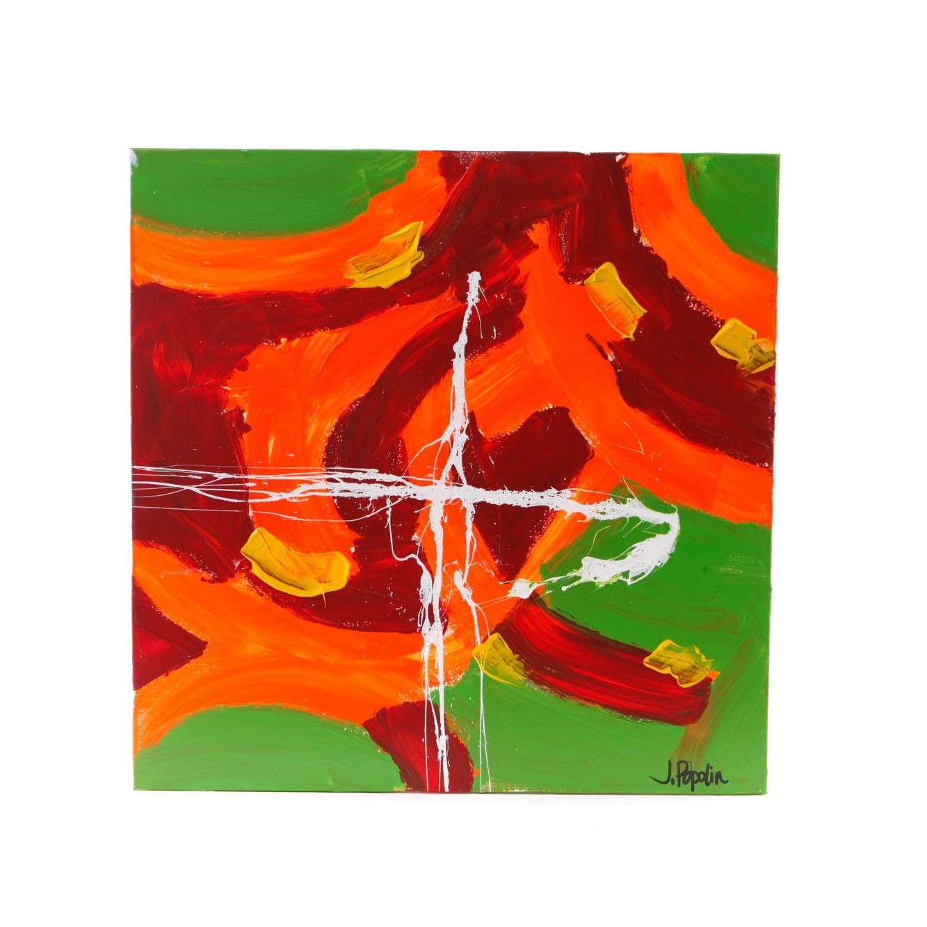 "J. Popolin Acrylic Painting on Canvas ""Green, Orange, Yellow, White"""