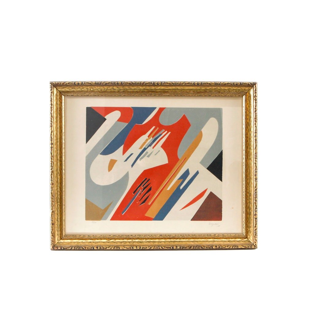 Signed Limited Edition Modernist Relief Print on Paper