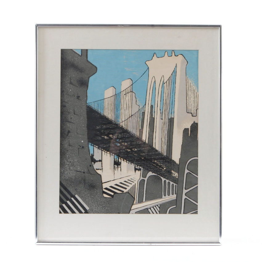Serigraph Print on Paper of City Skyline