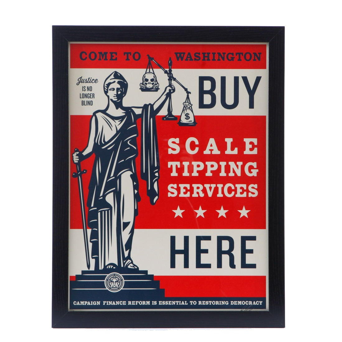 """Shepard Fairey Signed Serigraph """"Scale Tipping Services"""""""